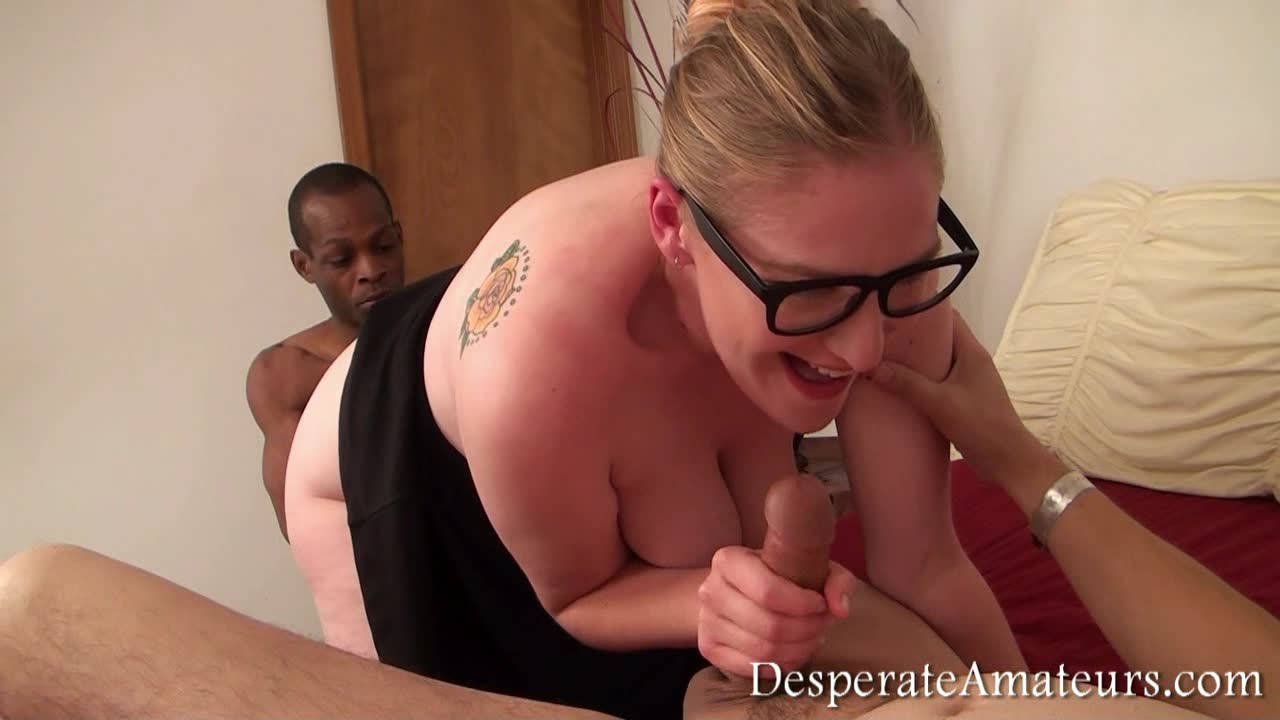 fatty geek girl enjoys homemade private gangbang with a black friend